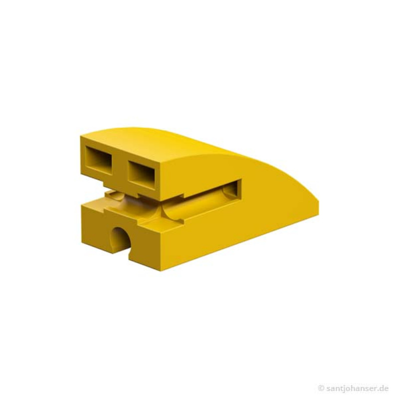 Building block 15x30 round, yellow